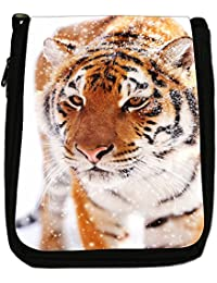 Wild Tiger Medium Black Canvas Shoulder Bag - Size Medium