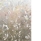 Rabbitgoo 3D Statisch Selbsthaftend Fensterfolie Anti-UV Dekorativer Fensteraufkleber - 90cm x 200cm - Tulpen Muster Upgraded Version