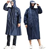 Waterproof Raincoat - Portable, Reusable, Emergency Rain Ponchos with adjustable Drawstring Hoods Sleeves and reflective tape
