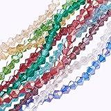 nbeads 10Stränge Glasperlen, AB Farbe vergoldet, facettiert, Bicone, gemischte Farbe, 4x 4mm, Loch: 1mm, über 118pcs/Strähne
