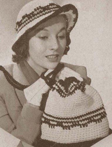 The Vagabond Shoulder Strap Bag & Hat Crochet Pattern Crocheted Purse Handbag Cap Cloche (English Edition) (Strap Bag Purse)
