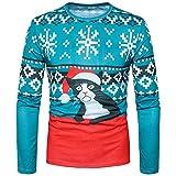 Yazidan Männer Bluse Weihnachten Jacke Katze 3D-Druck mit Blumen Oben Lange Ärmel Sweatshirt Basic T-Shirt Herbst Winter Mantel Gemütlich Outfits Startseite Kleidung Kleidungsstück(Blau,XL)