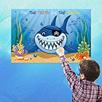 Howaf Pin the Teeth on the Shark Party Game Birthday Party Accessories Include a Large Poster 15 Sticker Teeth and 2 PCS Eye Mask