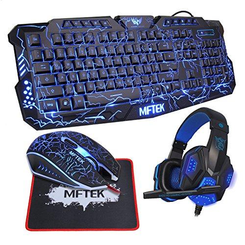 Gaming Tastatur Set, MFTEK USB Verdrahtet QWERTZ Deutsches Layout Hinterleuchtet Rot/Blau/Lila Externe Schwarz Tastatur und 7 Tasten Maus mit Kopfhörer für Gamer