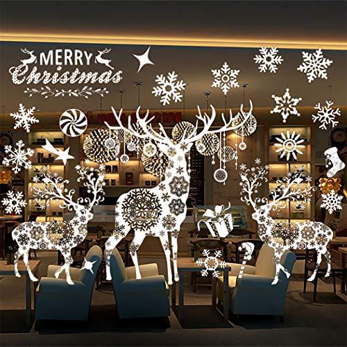 Outgeek Weihnachten Wandaufkleber, Weihnachten Spaziergang Fensteraufkleber Schöne Schneeflocke Dekor Wandaufkleber Showcase Art Decal für Weihnachten Xmas Decor -