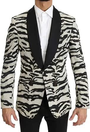 D0LCE & GABBANA Black White Zebra Silk Blazer