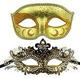Paar venezianischen Maskerade Maske gesetzt Luxus-Stil Prinzessin Party Maske (Gold + Schwarz-Gold)