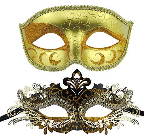 Maskerade Maske gesetzt Luxus-Stil Prinzessin Party Maske (Gold + Schwarz-Gold) (Schwarz Paar Halloween-kostüme)