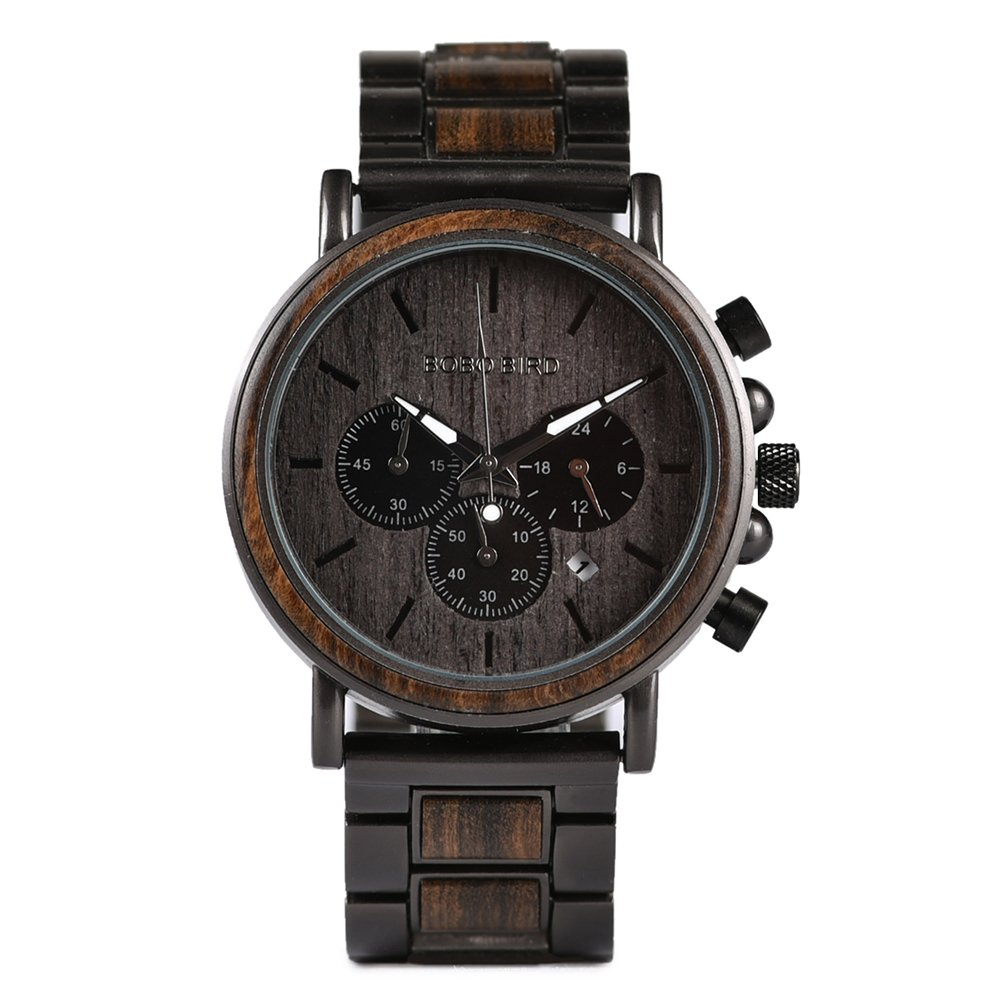 Mens Wooden Watches Quartz Business Stainless Steel Chronograph Date Wrist Watch for Man