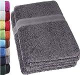 NatureMark 2er Pack SAUNATÜCHER Premium Qualität 80x200cm SAUNATUCH Sauna-Handtuch Doppelpack Farbe: Anthrazit grau
