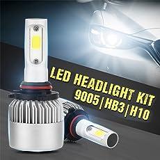 Ocamo Pack of 2 COB LED Auto Car Headlight, 40W 10000LM All In One Car LED Headlights Bulb Fog Light, White 6000K Head Lamp 9005/HB3/H10,