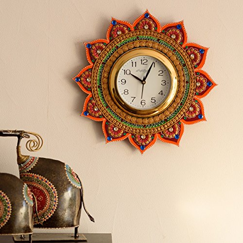 eCraftIndia Royal and Elegant Decorative Wooden and Papier-Mache Wall Clock (35 cm...