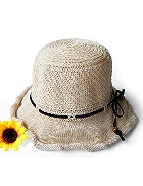 LVLIDAN Sombrero para el sol del verano Dama SolAnti-sol Beachstrawhat beige plegable