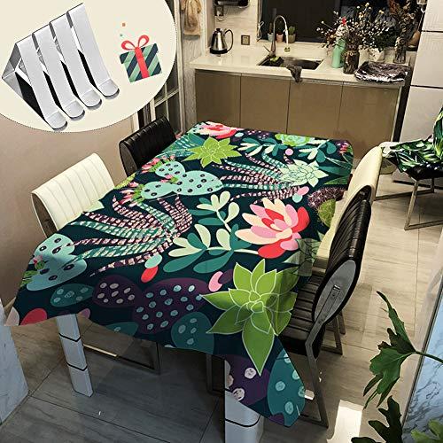 Stillshine tovaglie da tavolo cactus, moderne rettangolo poliestere cucina antimacchia impermeabile prova di olio tavolino tavolo da pranzo per cene e feste 3d verde, pianta (90 * 90cm,h)
