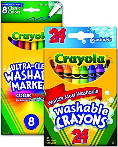 Crayola Washable Classic Crayons, 24 Pieces + Ultra-Clean Fine Line Markers, 8 Pieces - Assorted Art Sketch Bundle