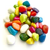 Gifts and Decor Stone Colourful Glass Pebbles, 400 G (Multicolour)
