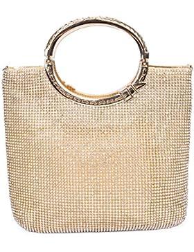 Damen Frauen Clutch Abendtasche Handtasche Satin mit Hochwertig Diamant Elegante Tasche für Hochzeit Party 25*...
