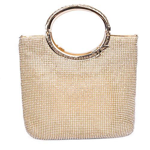 CLOCOLOR Borsa Pochette a mano delle donne con diamanti cristalli luminosi borsetta con manici stile elegante con ampio spazio borsa festa sacchetto di sera, Dorato Dorato