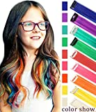 Rhyme Peluca para niños Clip de Extensiones de Cabello de Color para niñas Muñecas Accesorios para el Cabello 9 Piezas (Color de Arco Iris)