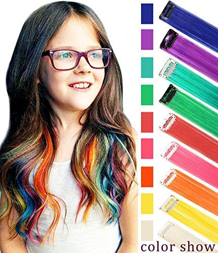 Rhyme Farbige Haarverlängerungen Clip In / on Für Mädchen und Kinder Perücke Stücke für Puppen 9 STÜCKE Regenbogen Farbe