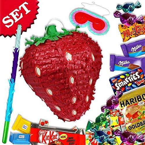 Preisvergleich Produktbild Erdbeer-Pinata-Set, mit Pinata, Keule, Augenmaske und Süßigkeitenfüllung, Spa...