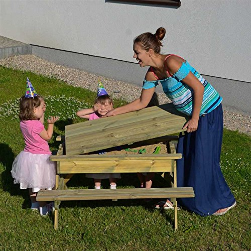 Gartenset für Kinder mit Sandkasten, Holz-Picknicktisch und Gartenbank mit 4 Sitzen - 3