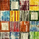 Klebefolie für Möbel Küche Tür & Deko I Selbstklebende Folie I Möbelfolie I Vintage Tapete I Fototapete in Shabby Chic Holzoptik I inkl. Filzrakel I Holz bunt I Bahia [210 x 90cm]
