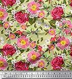 Soimoi Beige Baumwoll-Voile Stoff Blätter, Klematis & Rose