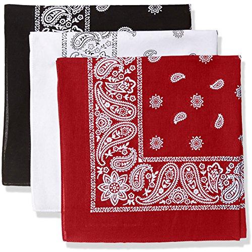 d Bandana Set-Black/White/Red, One Size ()