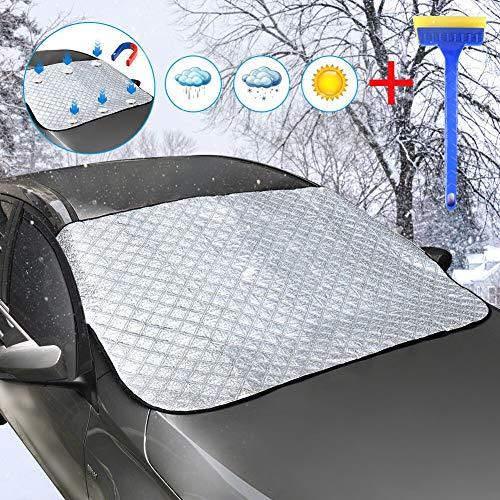 DEKINMAX Scheibenabdeckung Frontscheibenabdeckung Auto Windschutzscheibenabdeckung Magnetische Magnet Fixierung Sonnenschutz UV-Schutz Abdeckung Sonnenblende Frontscheibe Frostabdeckung
