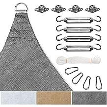 Sonnensegel Komplettset - inkl. Set zur Montage   luftdurchlässig und UV-beständig   Quadrat, Rechteck oder Dreieck   viele Größen und Farben   Quadrat 5x5 m Grau und 12-teiliges Befestigungsset
