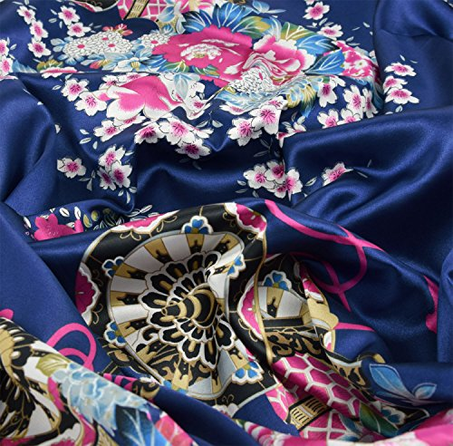 Japanischer geisha Kimono dunkelblau mit Obi-Gürtel - 3