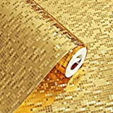 PROKTH Impermeabile Wallpaper 10M * 53CM KTV Bar Counter Column Wallpaper 3D Glitter effetto specchio Mosaico Sparkle Riflesso di luce Lamina d'oro Carta stagnola argento
