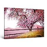 ge-Bildet® Bild auf Leinwand MIT SOMMER RABATT Naturbilder Landschaftsbilder 'Frühlingsbaum' Natur Baum Rosa Pink - 120x80 cm einteilig XXL 2214 A