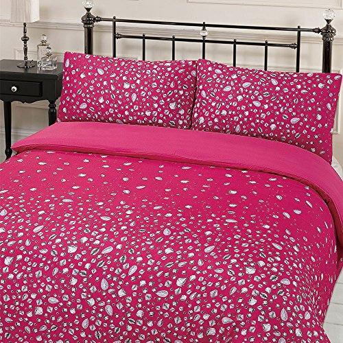 Dreamscene Glitz Gem Print Quilt Duvet Cover With Pillowcases Bedding Set Pink Single