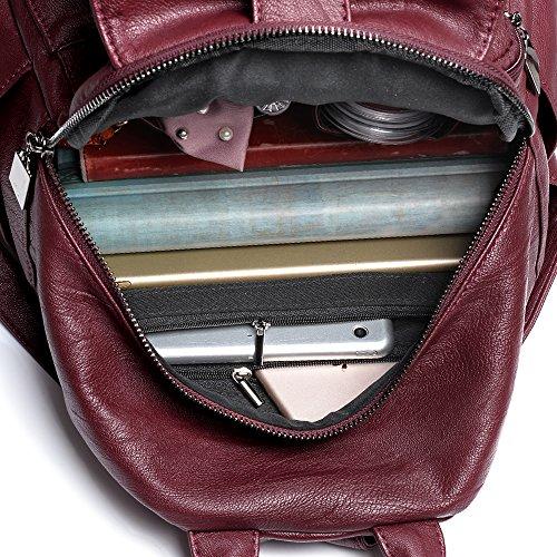 UTO Zaino Casual Donna-Zaino per scuola Sicurezza e Anti-borseggiatore portatile Computer 13  Ecopelle Borsa a Zainetto Nero Rosso