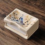 Portasapone bagno creativi, Scatola di sapone multi-funzione di lavabo, Ceramica doppio scarico, Scatola di sapone da bagno stile pastorale-B