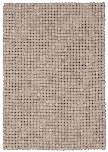 myfelt Béla Filzkugelteppich, rechteckig, Schurwolle, beige, 30 x 50 cm