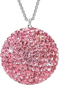 Savori Hanging Car Mirror Ornament Lucky Ball Rhinestone Glitter Car Decoration Christmas Crystal Pendant Bling Car Accessories For Women Auto