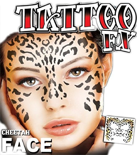 Erwachsene Herren Damen Das Gesicht Bedeckend Tätowierung Transferdruck Cheetah Tier Dschungel Spezialeffekte Wild Kostüm Kleid Outfit Zubehör ()