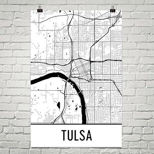 Modern Map Art Tulsa Poster, Kunstdruck Tulsa, Tulsa Wall Art, Tulsa Karte 12