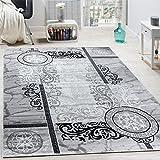 Designer Teppich Modern Meliert Floral mit Versace Muster Kreise Grau Schwarz, Grösse:160x220 cm