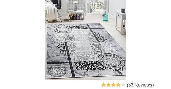 Designer Teppich Modern Meliert Floral mit Versace Muster Kreise Beige Creme