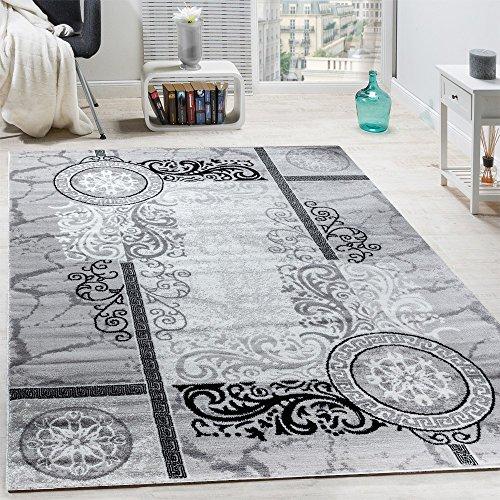 Paco Home Designer Teppich Modern Meliert Floral mit Mäander Muster Kreise Grau Schwarz, Grösse:240x340 cm Grau-muster