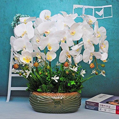 Jnseaol Kunstblumen Künstliche Blume Orchidee Urlaub Geschenk Keramik Topf DIY Hotel Wohnzimmer Hochzeit Party Küche Home Eine Große Verzierung Weiß -01