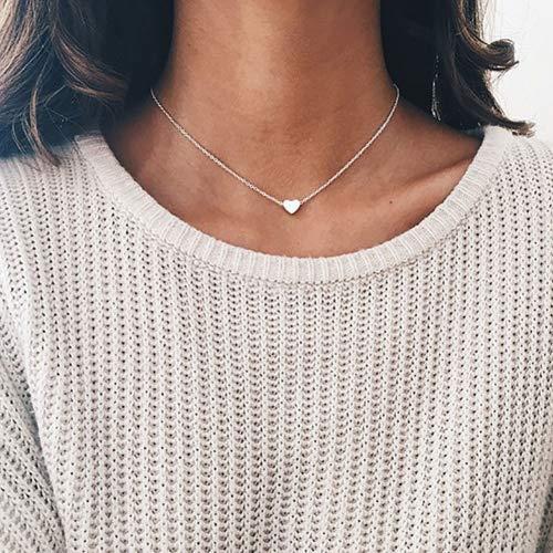 DDLBiZ Halsketting/halsband met hart-hanger, verzilverd/verguld