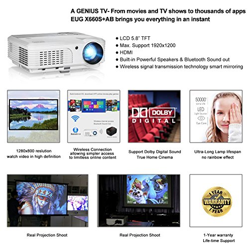 Great Buy for EUG Android LCD Projector Built-in WiFi BLuetooth LED Video Projector Home Theater 4200 Lumen Multimedia Support 1080P HD HDMI Outdoor Backyard Movie Projector Wireless Smartphone Review