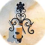 Antikas - Toller Kerzenhalter Schmiedeeisen im Landhausstil, Wand-Kerzenleuchter mit Kerze