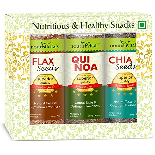 Nourish Vitals Diwali Gift Box - Roasted Flax + Quinoa + Chia Seeds (Superior Quality) Gift Box  available at amazon for Rs.1071