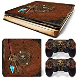 46 North Design Playstation 4 PS4 Slim Folie Skin Sticker Konsole Old Book Treasure aus Vinyl-Folie Aufkleber Und 2 x Controller folie